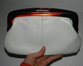 Retro White Leather Clutch with Faux Tortoise Shell Plastic Clasp