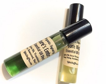 NATURES EMBRACE Synergy Scents - Essential Oil Natural Perfume - Frankincense, Spruce, Rosewood and Blue Tansy.