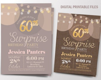 Surprise Birthday Party Invitation, Women Birthday Party invitation, Birthday Anniversary Surprise, Printable Digital Card, DIY