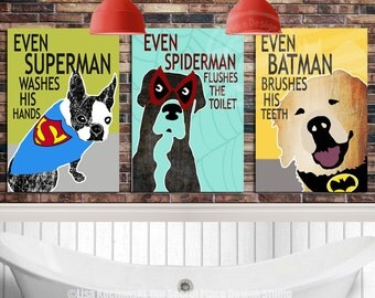 PRINTABLE Superhero Bathroom Decor Kids Superhero Bathroom Signs Kids Bathroom Wall Decor Kids Bathroom Wall Art Toilet Art Bathroom Rules