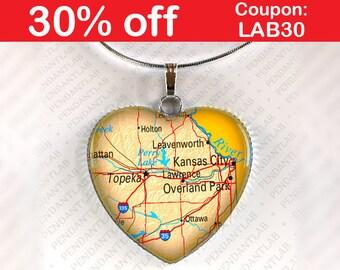 Overland Park Map Pendant, Kansas City Map Pendant, Topeka Map Pendant, Necklace, Jewelry, Kansas, Map Necklace, Heart, Gift, Home, Travel