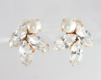 Rose gold clip on earrings,clip on bridal earrings,clip on wedding earrings,clip on,Swarovski clip on,pearl clip on earrings,marquise,cream