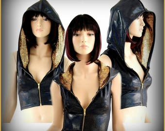 Sleeveless Black Holographic Zipper Front Crop Hoodie Rave Festival Clubwear Top w/Gold on Black Shattered Glass Hood Lining 154351