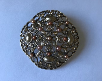 Ornate Victorian Style Brooch Pin Gold Tone with Pearlescent Stones