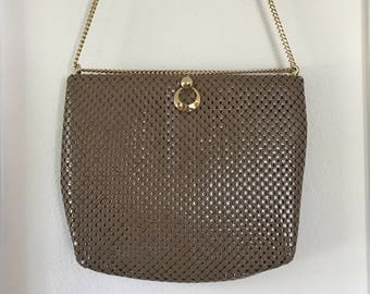 Whiting & Davis Metal Mesh Shoulder Bag Taupe Beige 1990s