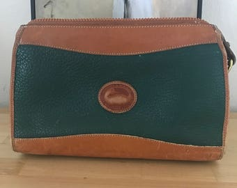 Dooney and Bourke All Weather Leather Satchel Green Brown Shoulder bag
