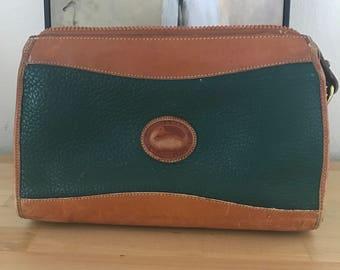 Dooney and Bourke All Weather Leather Satchel Green Brown Shoulder bag