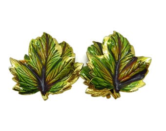 Weiss Green Leaf Earrings, Vintage Gold Tone Clip-on Designer Signed Earrings