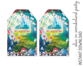 Alice in Wonderland Favor Tag, Alice in Wonderland Thank You Tag, Alice in Wonderland Party Favor INSTANT DOWNLOAD you personalize at home