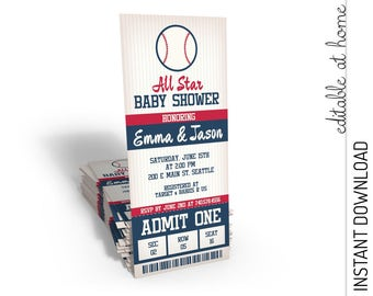 Baseball Baby Shower Invitation, Baseball Ticket Baby Shower, All Star Baby Shower Invite INSTANT DOWNLOAD you personalize at home