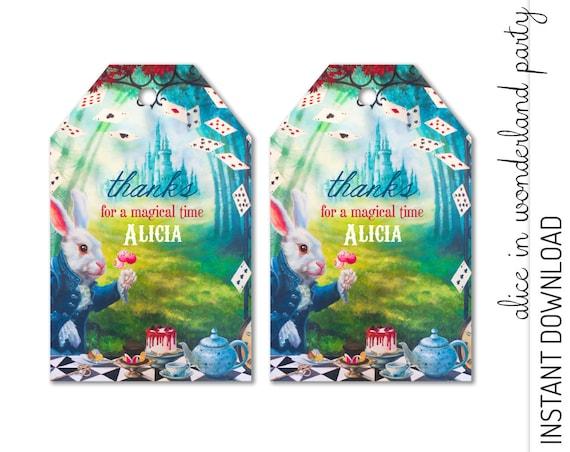 Alice in Wonderland Favor Tag INSTANT DOWNLOAD