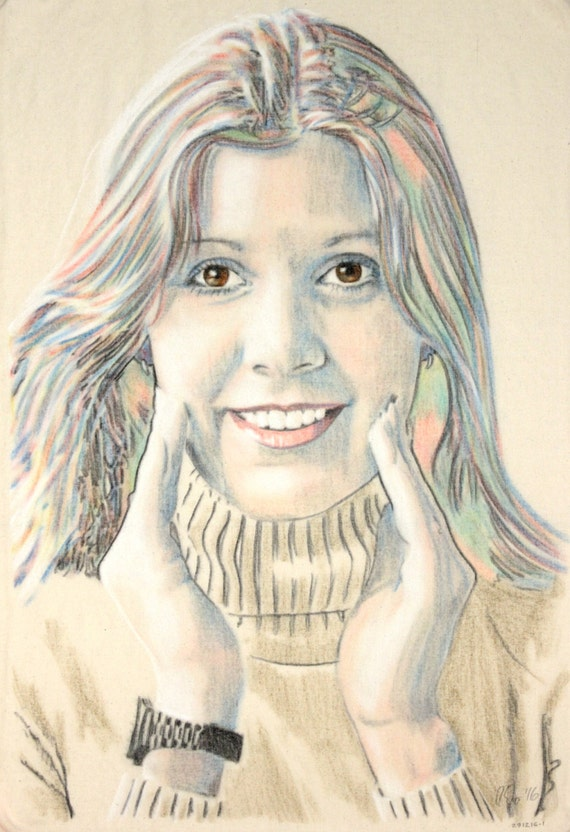 Original hand drawn portrait of Carrie Fisher, in charcoal and pastel on calico