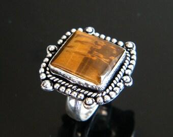 Natural Tiger Eye Ring, Silver Overlay Handmade Ring, Silver Plated Ring, Tiger eye Gemstone Ring, Ring size-8.25 SH-1437