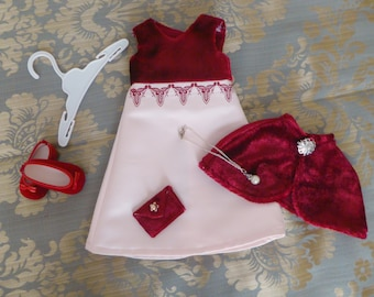 """18 """" Doll Prom Dress/American Doll Velvet Evening Gown, Capelet,Evening Bag, Pearl Necklace/Hanger/Girl Doll Party Dress/Cloak/Princess"""