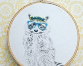 raccoon . fox . owl . heat set image embellished with hand embroidery . woodland . hipster . geek . home . office . nursery . cool gifts