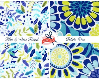 LIME & BLUE FLORAL Fabric Bundle Fabric by the Yard Fat Quarter Royal Blue Aqua Fabric Quilting Fabric 100% Cotton Fabric Apparel Fabric Kit