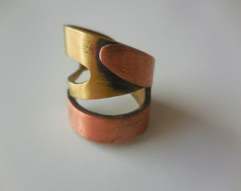 Handmade ring, Brass and Copper ring, Wide Band ring, Two metal ring, Handmade jewelry, Modern ring