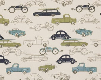 Premier Prints Retro Rides Fabric Home Decor Fabric, Vintage Car Truck and Motorcycle Fabric By 1/2 YARD