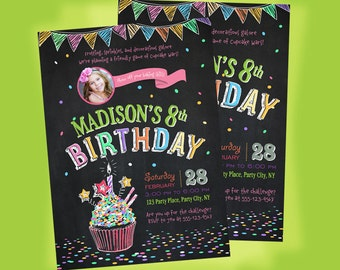 Cupcake Decorating Chalkboard Invitation. Cupcake Birthday Invite. Cupcake Wars Birthday Party Invitation. Digital File.
