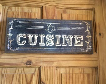 Canvas wall art sign kitchen decor wall hanging 'la Cuisine' vintage rustic style