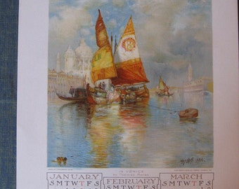 Antique Advertising Wall Calendar - 1907 Youth Companion - sailboat other art - Americana