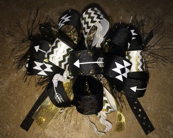 Follow Your Arrow Chevron Tribal Design Hair Bow Black White Gold