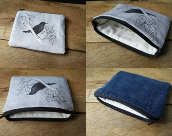 Zipper Pouch, Cotton Coin Purse | Blackbird and birch tree printed bag, zippered cotton pouch, bird pouch with print from original drawing.
