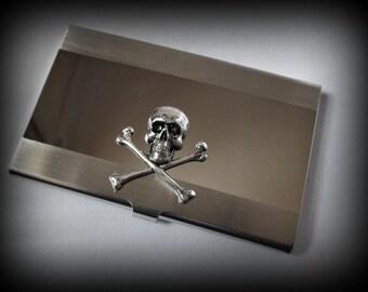 Skull and cross bones business card holder-credit card holder-stainless steel card holder-gothic card holder-steampunk card holder