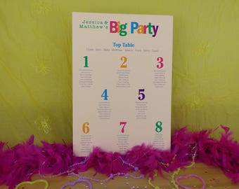 Bright and Bold Wedding Table Plan