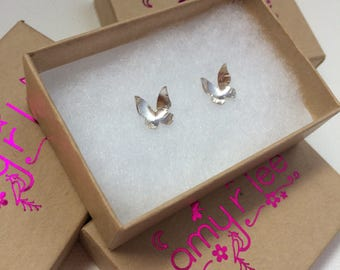 Handmade Butterfly Stud Earrings Sterling Silver Bridesmaids Gifts