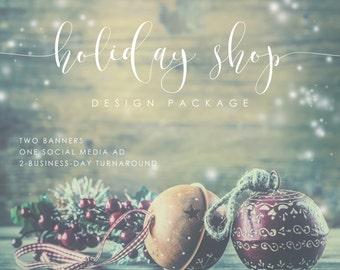Christmas Graphics Package - Christmas Banner -  Christmas Ad - Custom Graphic Design - Facebook Cover - Branding - Custom Design
