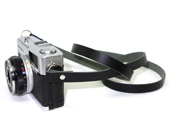 Handmade Leather Camera Neck Strap - Black
