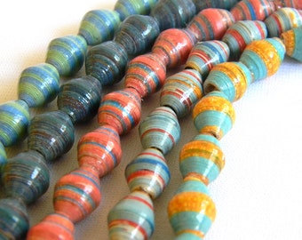 Paper Bead Jewelry Supplies - Paper Beads - Hand painted - Lot of 50 - #636