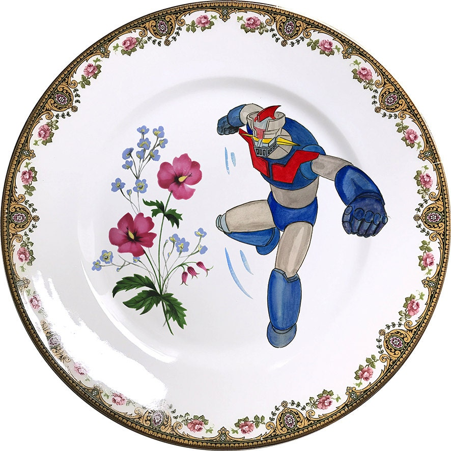 Mazinger z plato antiguo de porcelana 0464 for Platos porcelana