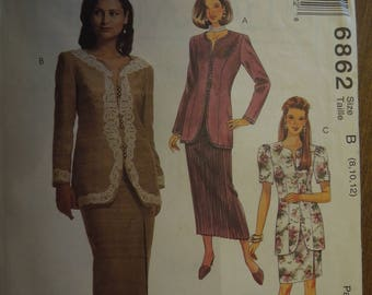 McCalls 6862, sizes vary, misses, petite, UNCUT sewing pattern, craft supplies, lined/unlined jacket, skirts