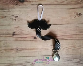 Feltie Mustache Pacifier Holder--w/ Black Polka Dot Ribbon