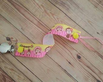 Pacifier Holder- Pink Baby Monkeys