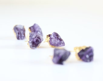 Raw amethyst earrings - amethyst earrings - amethyst studs - raw amethyst studs - stone stud earrings - raw crystal jewelry - raw crystals