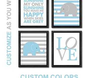 blue grey baby boy decor, elephant toddlers art, safari baby nursery, safari kids room decor, elephant boy wall decor, boy nursery art