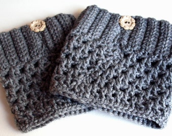 SALE!! Crocheted Women's Boot Cuffs, Boot Toppers, Winter Cuffs, Boot Socks-Gray w/Ribbed Top, Buttons