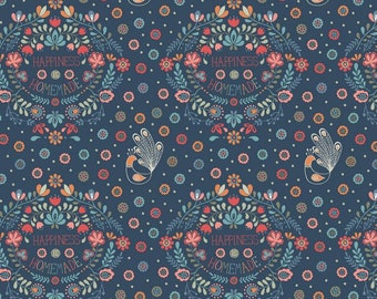 Lewis & Irene 'DISCOUNTED Price' Home Sweet Home A100-1 Happiness is Homemade on Navy Blue Patchwork Quilting Fabric