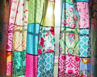 Boho Patchwork Curtains Set Of 2 Panels Unlined Kitchen Window Treatment Bohemian Style
