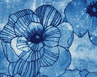 Benartex fabric Michele D'Amore Designs 3936 Benezia navy blue light blue floral flowers 100% Cotton Fabric Sewing Quilting by the yard