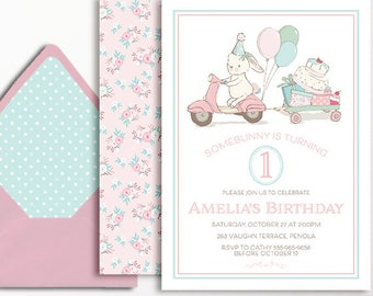 1st Birthday Invitation Bunny Rabbit Girls Pink Mint Blue Balloons Scooter Printable Girls Somebunny 2nd 3rd 4th 5th 6th 7th Floral