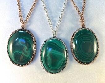 Malachite Pendant, Green Oval Stone, Malachite Necklace, Emerald Green, Green Gemstone, Natural Malachite, Semi Precious Stone,  30 x 40mm