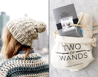 Knitting Kit // DIY Knit Hat Beanie // Thermal Toque Kit with Yarn, Knitting Needles, Pattern Book, Tote Bag, Stitch Marker, Tapestry Needle