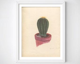 Large Cactus Print, Succulent Print, Vintage Cactus Art, Cactus Wall Print, Cactus Decor, Cactus Print, Cactus Plant Art, Cactus Art Print