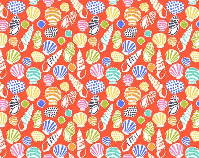 """17"""" REMNANT Sun-sational - Beachcomber in Coral - Cotton Quilt Fabric - designed by Maude Asbury for Blend Fabrics - 101.117.02.2 (W3337)"""