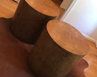 Incredible MCM burl wood drum tables - a pair Marked down!