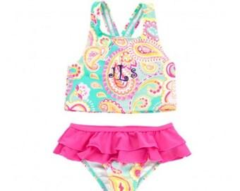 Girls paisley swimsuit. Kids paisley swimsuit. Girls paisley bathing suit. Monogrammable bathing suit. Personalized swimsuit